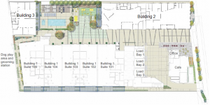 Site Plan with building areas and private patios and floor plans